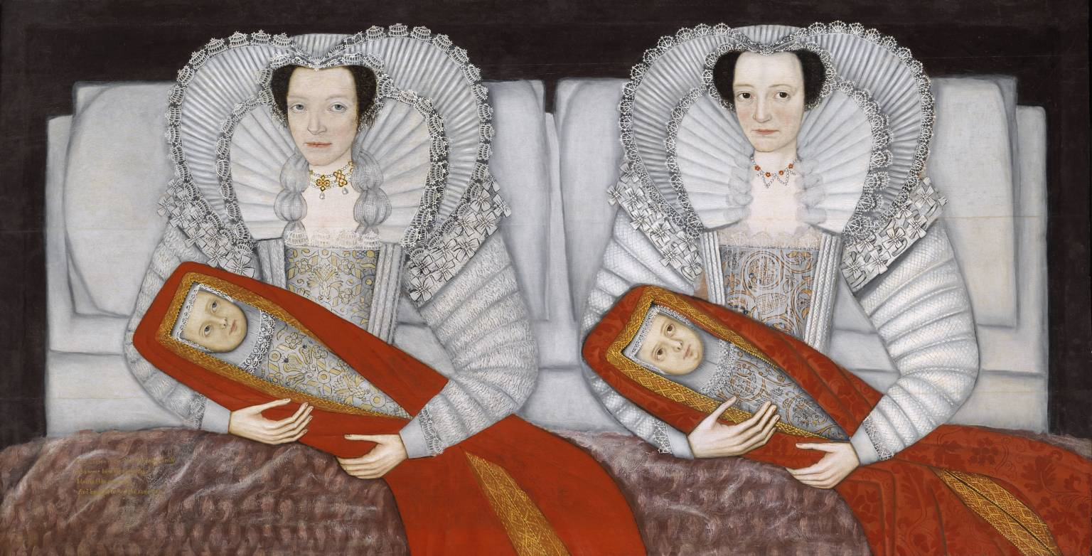 The Cholmondeley Ladies circa 1600-10 by British School 17th century 1600-1699